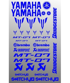 SPONSOR STICKERS KIT - YAMAHA MT-07 BLUE